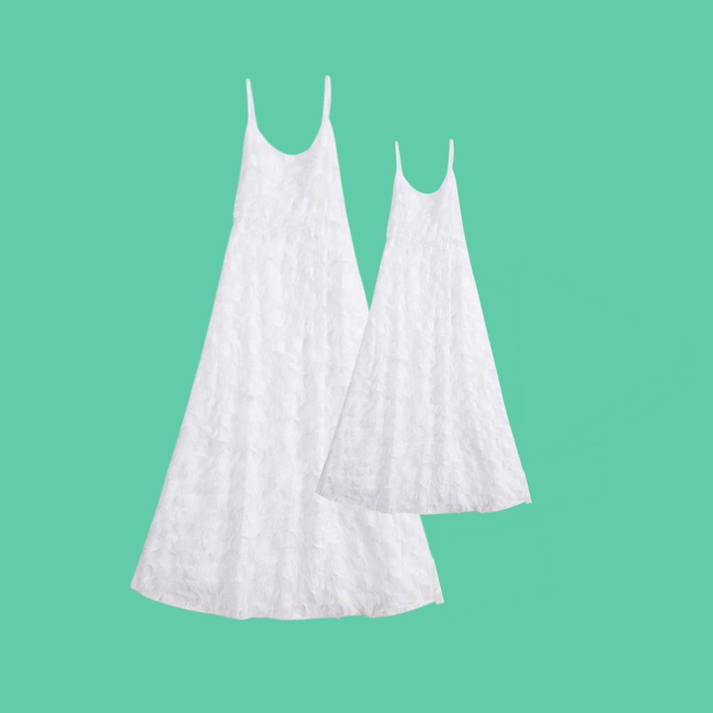 Mommy & Me White Chiffon Dresses