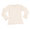 Girls Long Sleeve Jersey Tee with Lettuce Trim