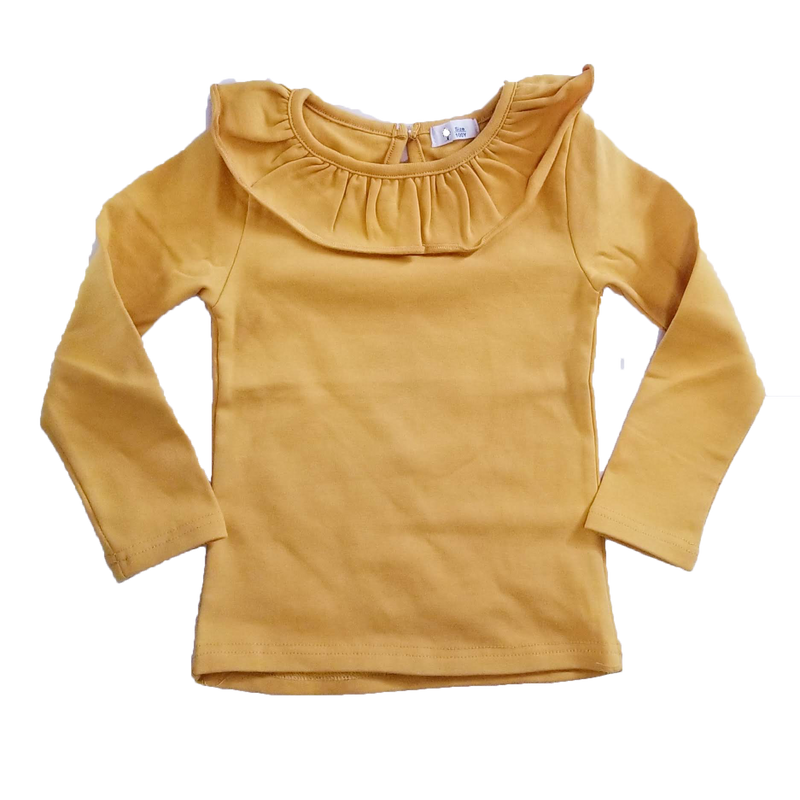 Girls Cotton Long Sleeve Shirt Yellow Wide Collar