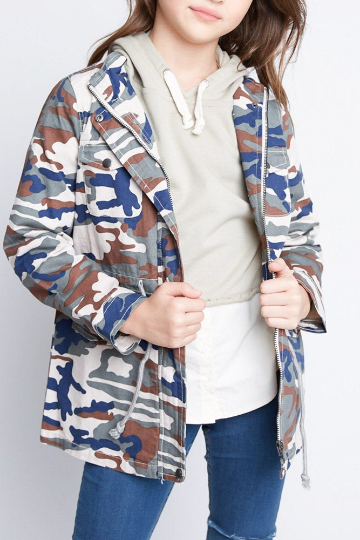 Navy Mix Camo Girl's Jacket - Custom Option Available