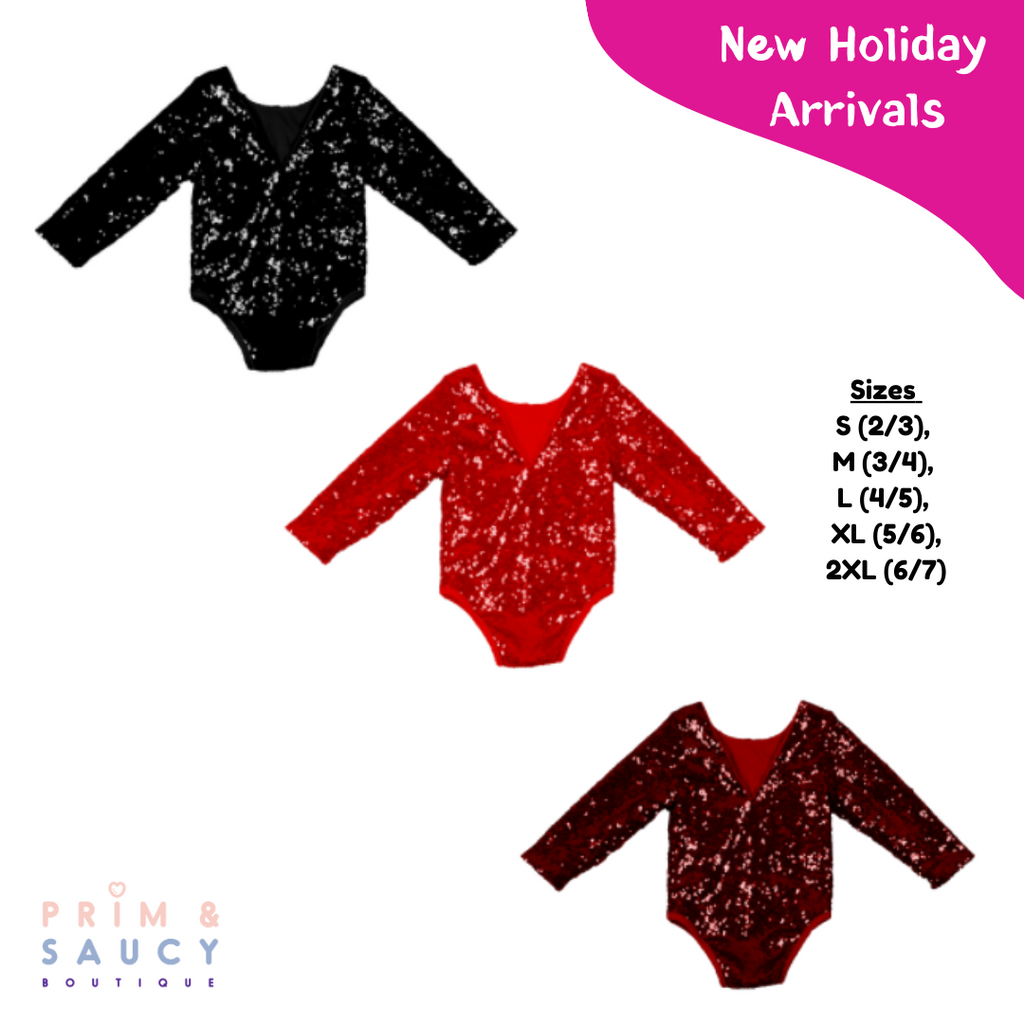 Long Sleeve Sequin Leotards/Rompers