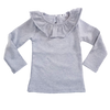 Wide Collar Heavy Weight Cotton Girls Shirt Gray