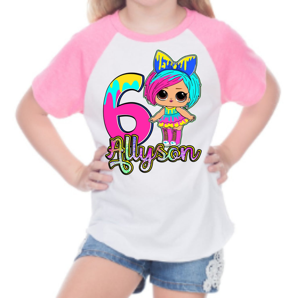 LOL Splatter Doll - Custom Raglan Tshirt - 6 Other Dolls to choose from