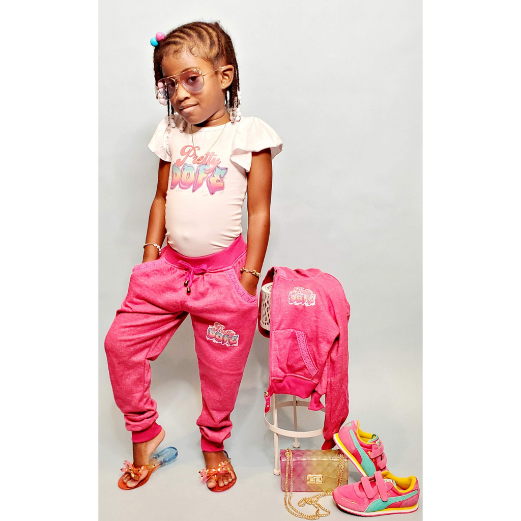 Girls Hot Pink Jogger Set by Cutie Patootie