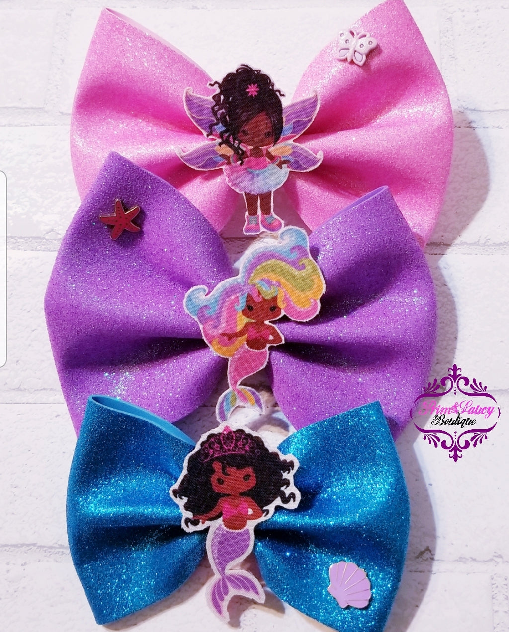 Fairy, Mermaid, Fun Character Sparkly Glitter Bows