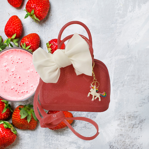 Strawberry Sparkle Jelly Satchel Tote