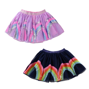 Rainbow Sequin Skirt - Pink or Navy