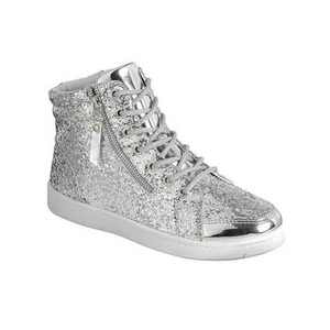 Silver Glitter High Top Sneakers - Unisex