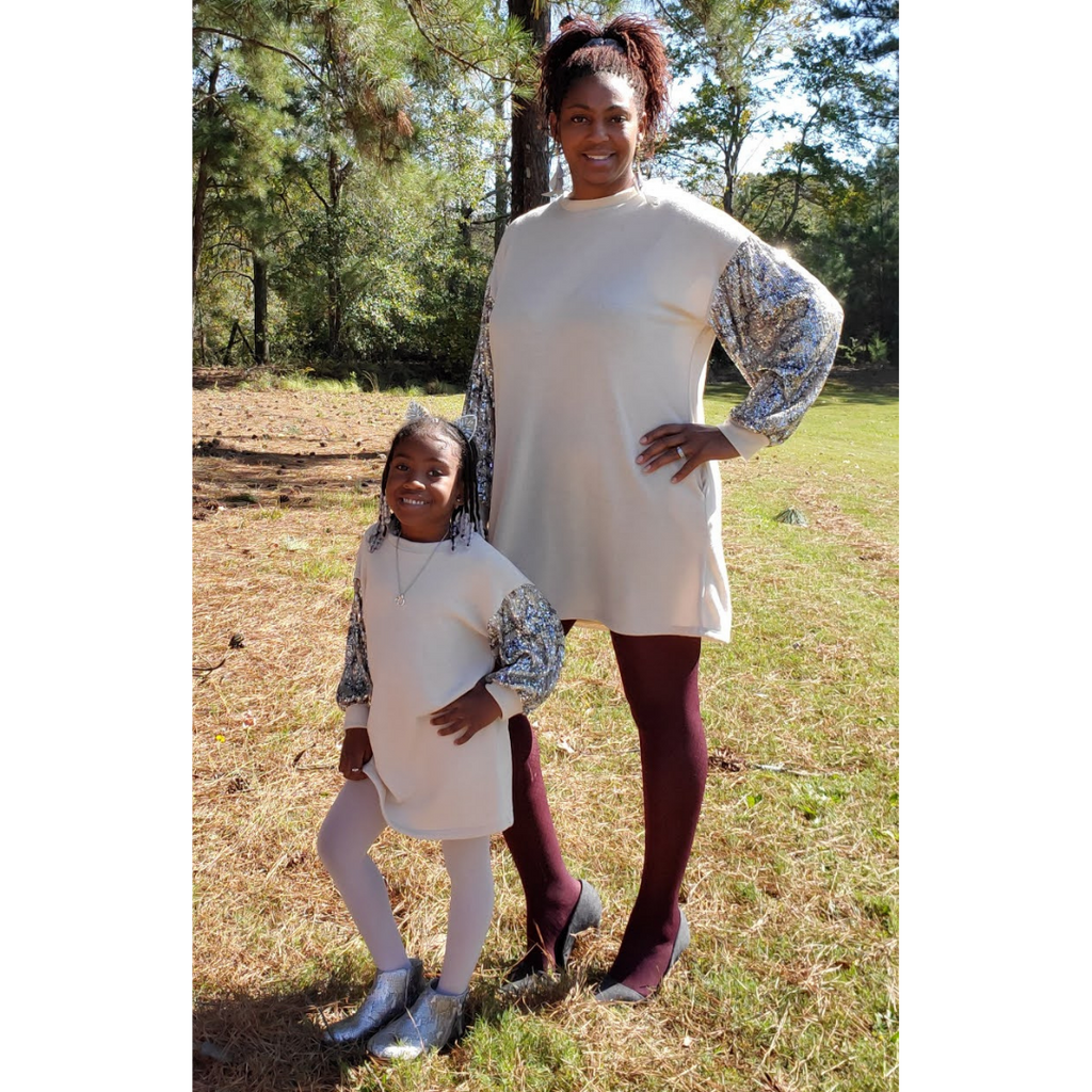 Mommy & Me Stone Cold Sequin Sweater Dresses