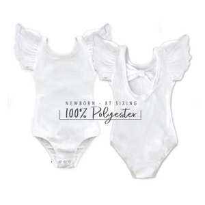 Pretty Dope Flutter Sleeve Leotard/Bodysuit Low Back with Bow