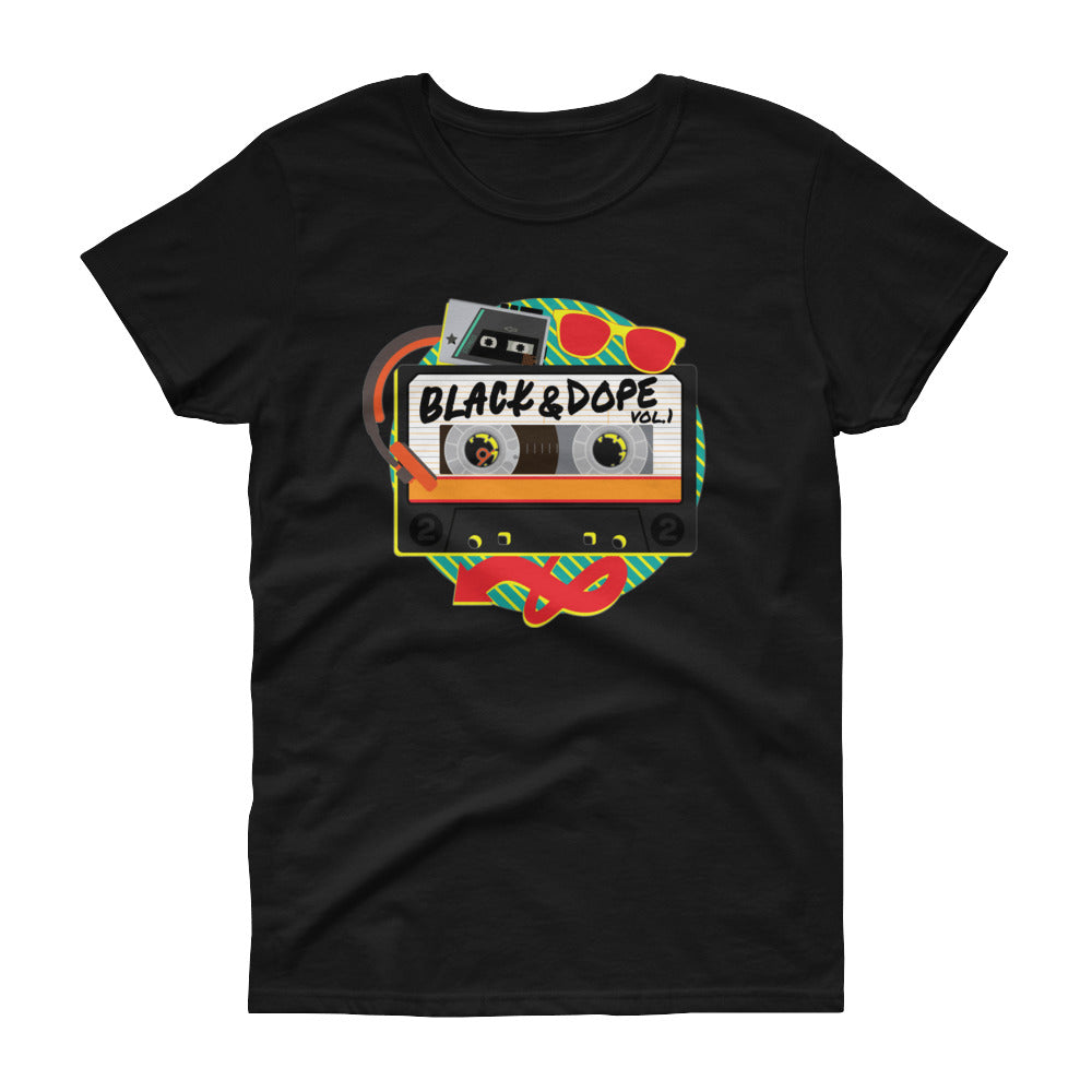 Black and Dope Mixed Tape Ladies Fashion Trendy Tee