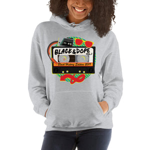 Black and Dope Mixed Tape Unisex Hooded Sweatshirt; Black History 2019 Hip Hop Hoodie; Ladies Hoodie; Big Kids Hoodie; Guys Hoodie