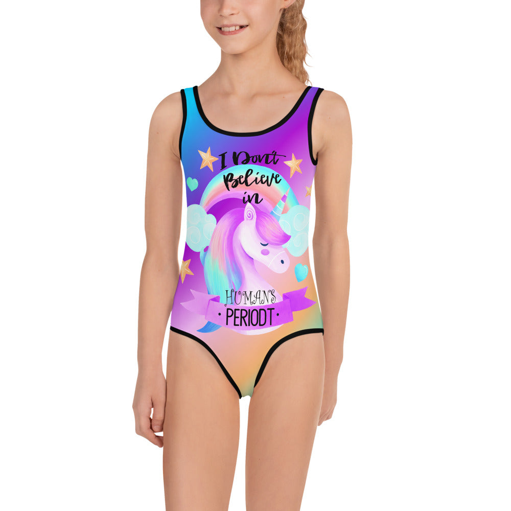 I Dont Believe in Humans, Funny Unicorn Kids Swimsuit, Sizes 2-7