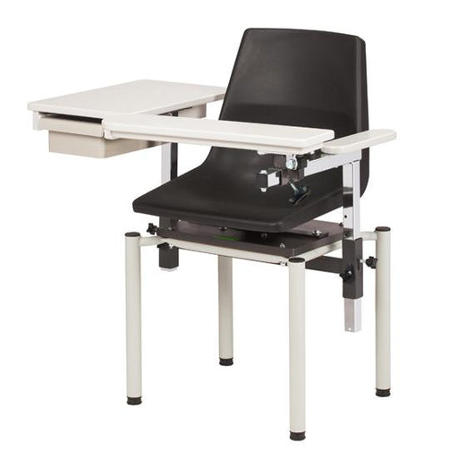 Blood Drawing Phlebotomy Chair; E-Z Clean w/ClintonClean Flip Arm & Drawer (SC Series 6049-P) by Clinton Industries - MedStockUSA.com
