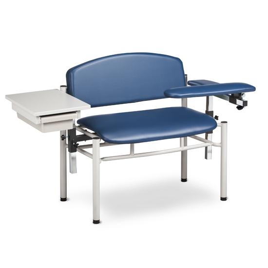 Extra Wide Padded Blood Drawing Chair w/Padded Flip Arm & Drawer (SC Series 6069-U) by Clinton Industries - MedStockUSA.com