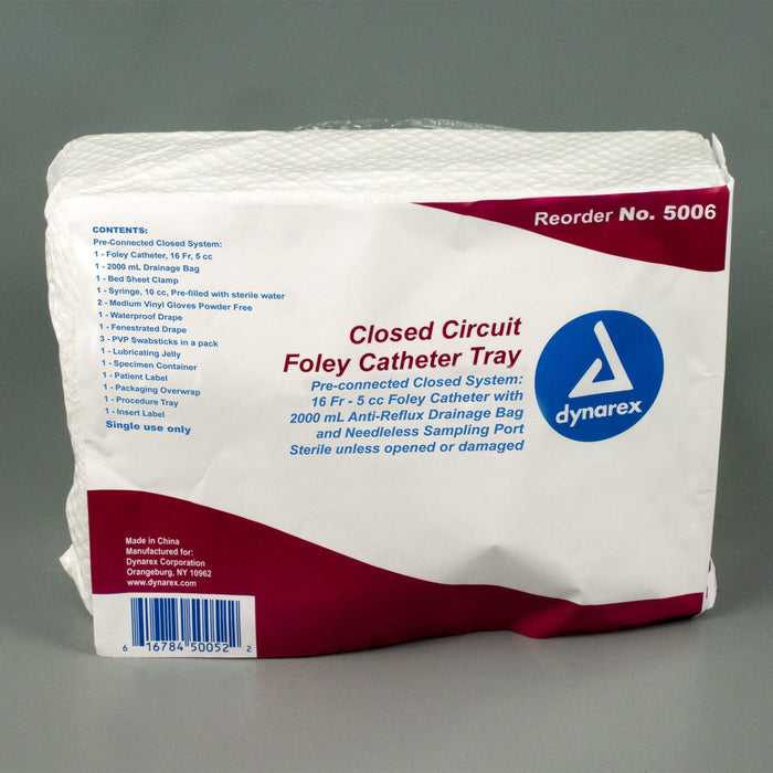 Closed Circuit Foley Catheter Tray 16 FR (10/cs) by Dynarex - MedStockUSA.com