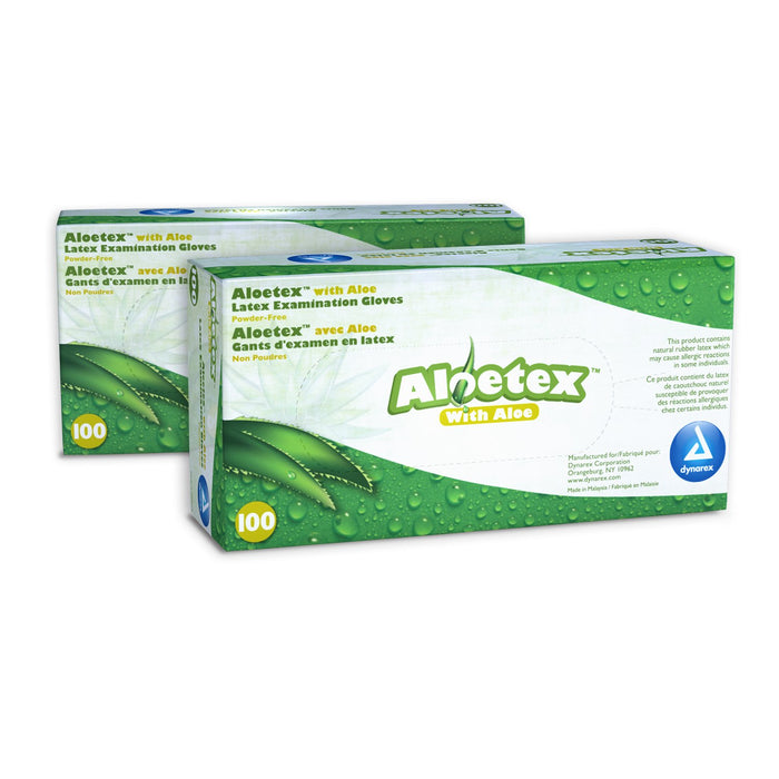 AloeTex Latex Examination Gloves; Medium (100/box) by Dynarex - MedStockUSA.com