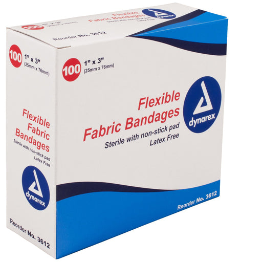 "Adhesive Bandage; Flexible Fabric 1"" x 3"" (100/bx) by Dynarex by Dynarex - MedStockUSA.com"