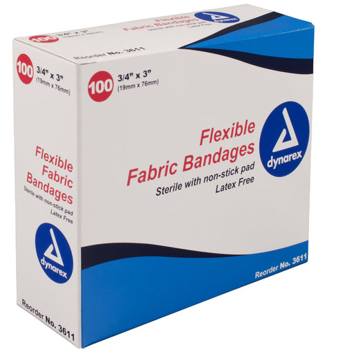 "Adhesive Bandage; Flexible Fabric 3/4"" x 3"" (100/bx) by Dynarex by Dynarex - MedStockUSA.com"