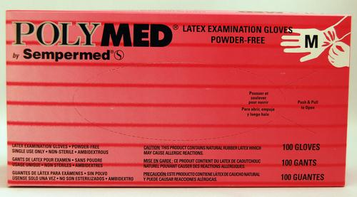 Latex Examination Gloves (100/box) - Medium by PolyMed by Sempermed - MedStockUSA.com