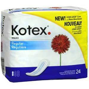 Kotex Pads Regular - Unscented (24/pk) by Kimberly Clark - MedStockUSA.com
