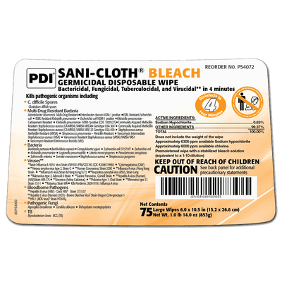 Sani-Cloth Bleach Germicidal Disposable Wipe (12/case) by PDI - MedStockUSA.com