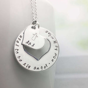 Dad Memorial Necklace stamped with 'I used to be his angel, now he is mine'