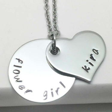 Personalised Flower Girl Heart Necklace