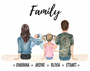 Family (with Baby) Personalised Print