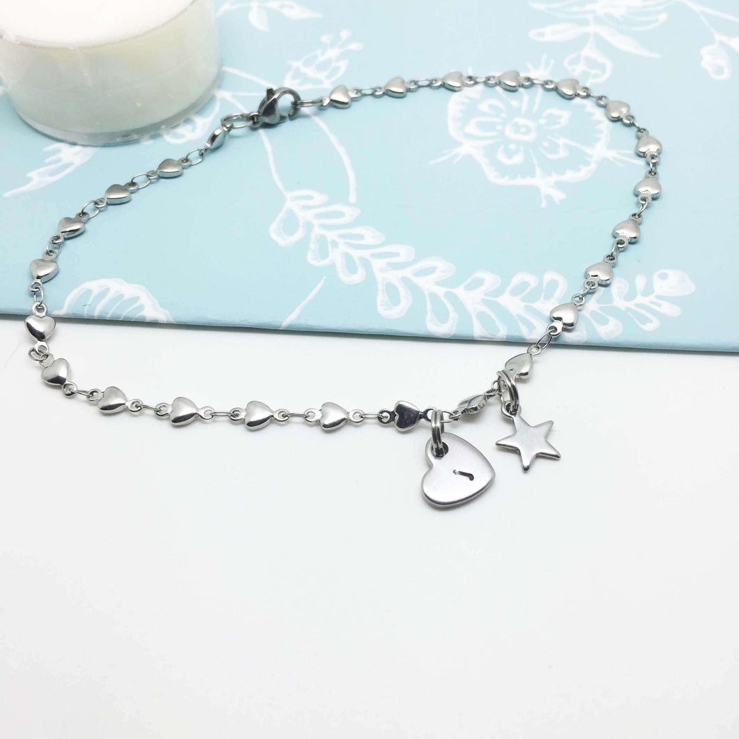 Heart Anklet with Initial Heart