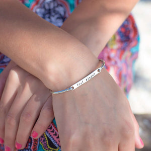 Personalised Bangle on a models hand
