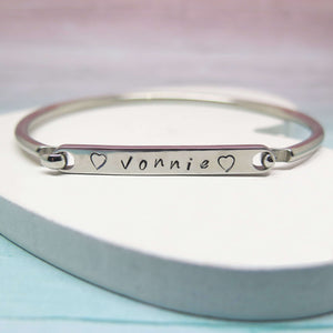 Personalised Bangle hand stamped with a name
