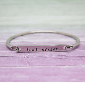 Personalised bangle hand stamped with 'soul sister'