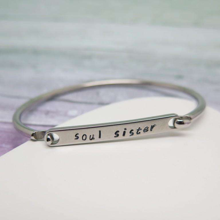 Personalised Bangle hand stamped with soul sister