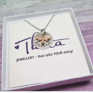 bee necklace in gift box