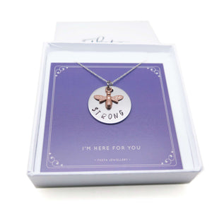 theta_jewellery_Bee Strong Necklace - Gift Idea to Cheer Up a Friend