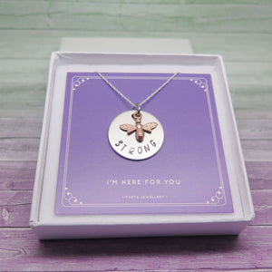 Bee Strong Necklace - Gift Idea to Cheer Up a Friend