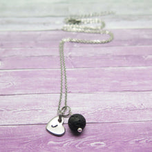 Black Lava Stone Essential Oil Diffuser Necklace with heart charm