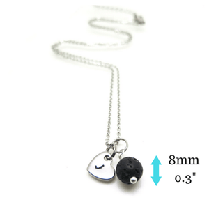 Black Lava Stone Essential Oil Diffuser Necklace with measurements