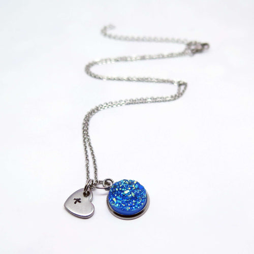 theta_jewellery_Blue Druzy Necklace