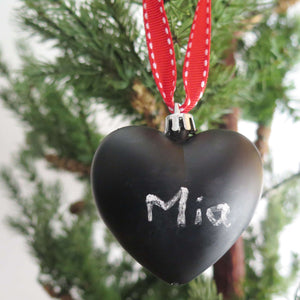 Chalkboard Christmas Tree Ornament with Mia written on it