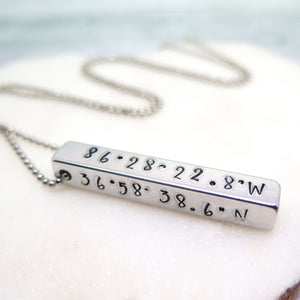 Hand Stamped Coordinates Pendant for Men