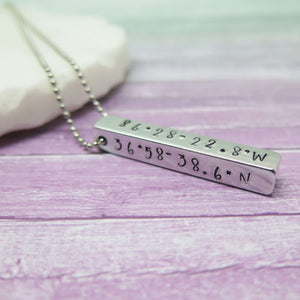 Latitude and Longitude Bar Pendant