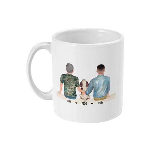 theta_jewellery_Couple with Dog - Personalised Coffee Mug