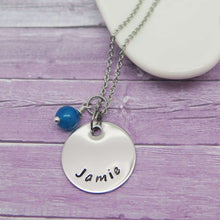 Disc Necklace hand stamped with Jamie