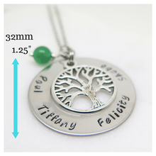Family Tree Necklace with dimensions