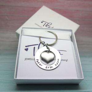 Personalised Heart Keyring in Gift Box