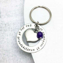 Personalised Heart Keyring stamped with The joy of Grandchildren is Measured in the Heart