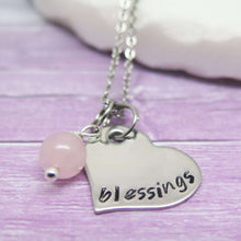 Personalised Heart Necklace for Girls hand stamped with Blessings