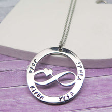 Personalised Infinity Necklace hand stamped with names